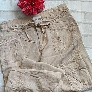 Tan Linen Cargo Pants sz 4